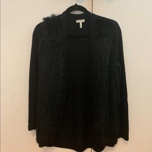 Join knit cardigan with fur